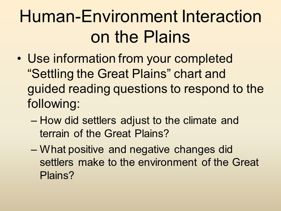 Human-Environment Interaction on the Plains