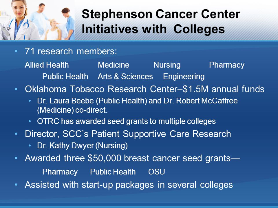 Stephenson Cancer Center Initiatives with Colleges