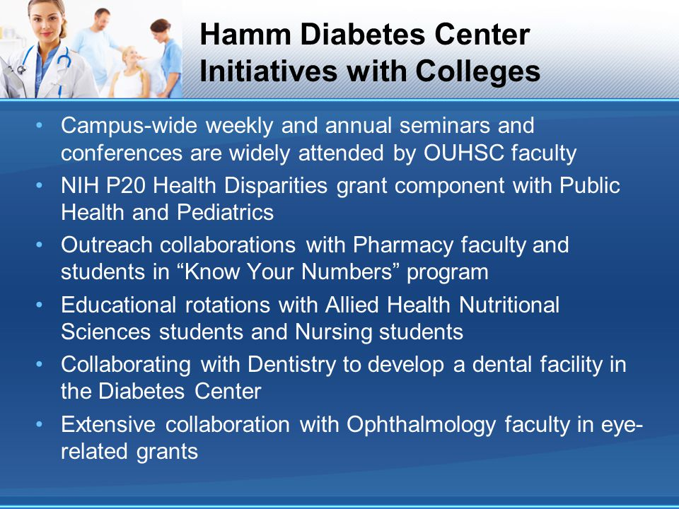 Hamm Diabetes Center Initiatives with Colleges