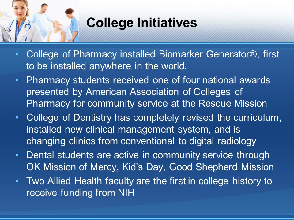 College Initiatives College of Pharmacy installed Biomarker Generator®, first to be installed anywhere in the world.