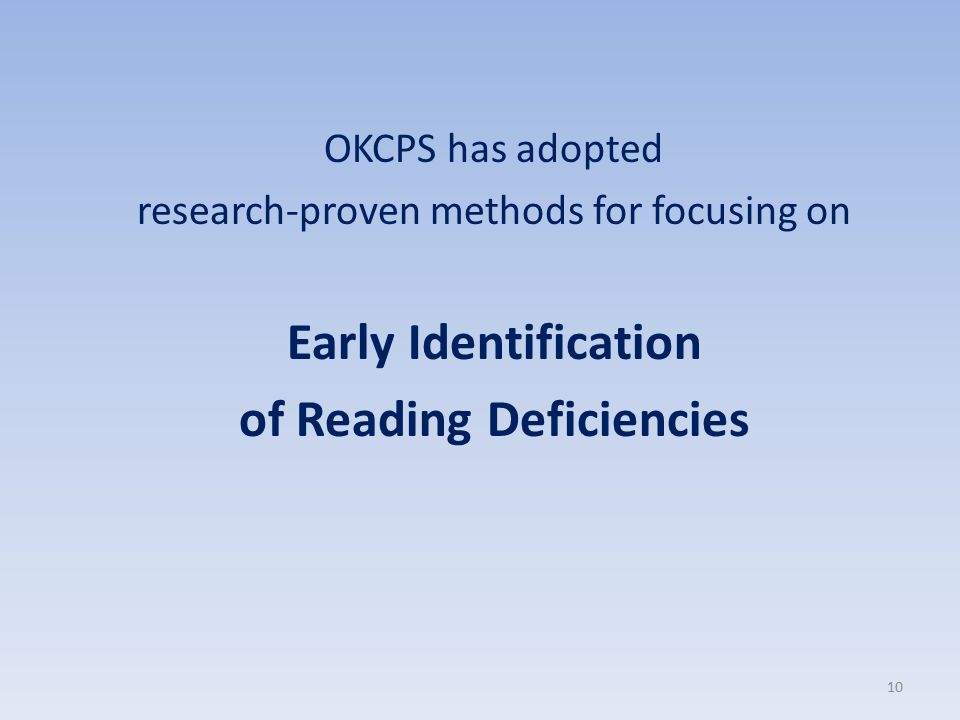 of Reading Deficiencies