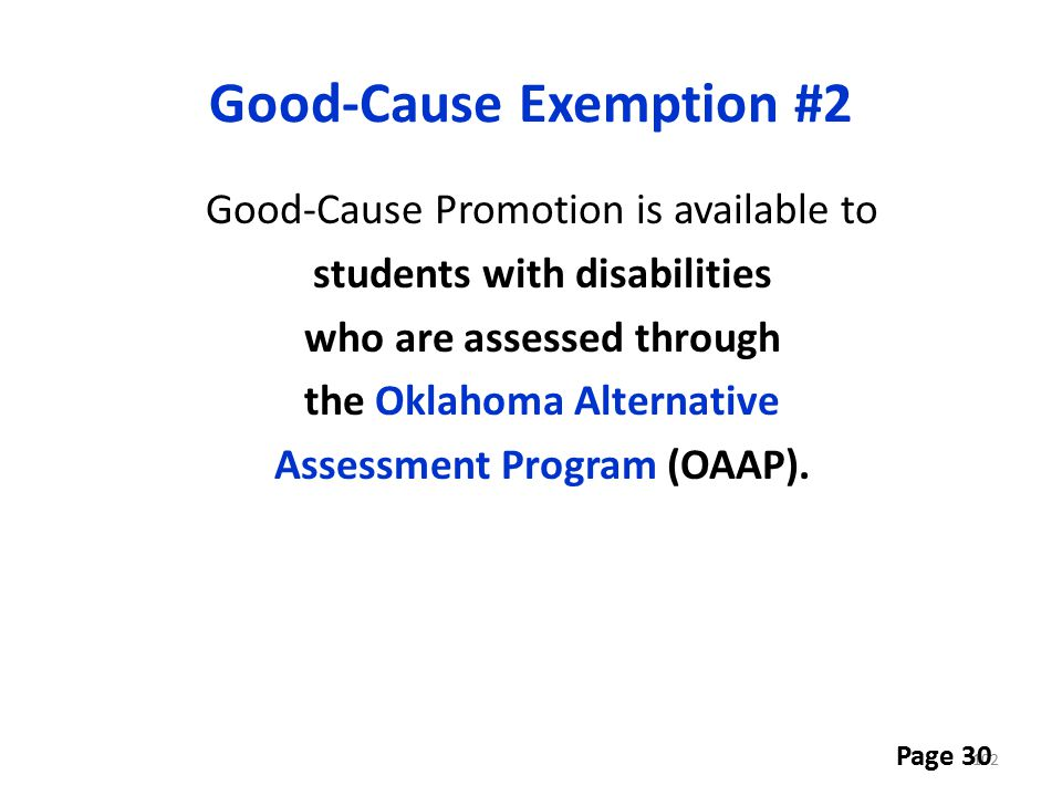 Good-Cause Exemption #2