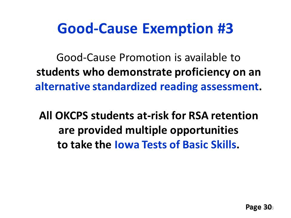 Good-Cause Exemption #3