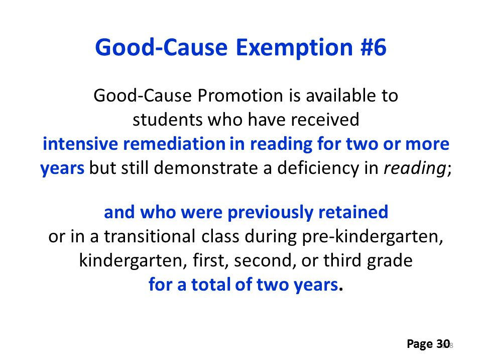 Good-Cause Exemption #6