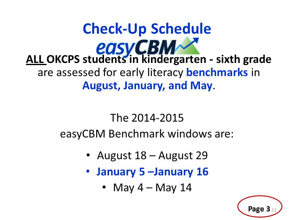 easyCBM Benchmark windows are: