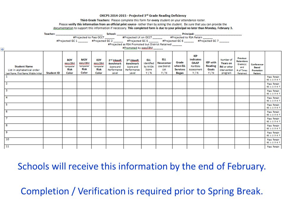 Schools will receive this information by the end of February.