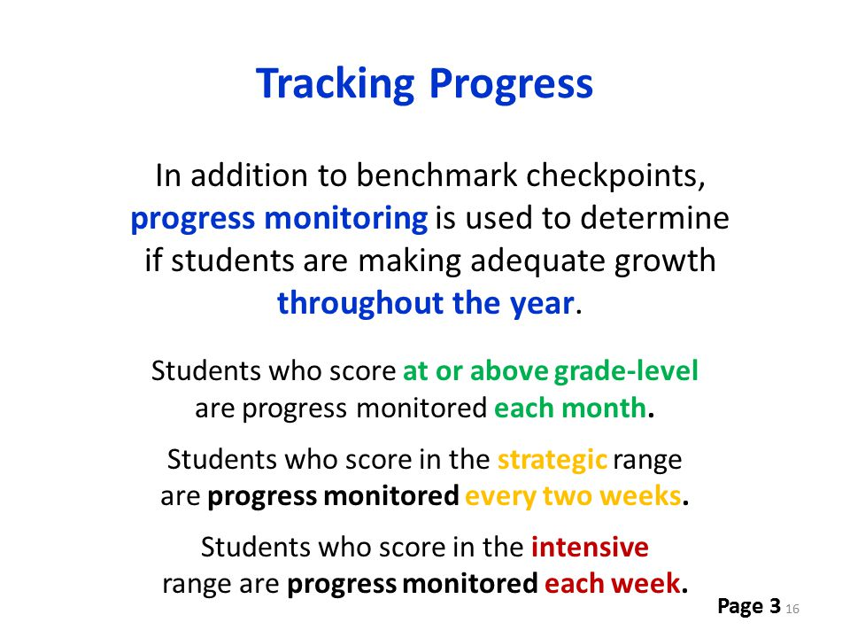 Tracking Progress