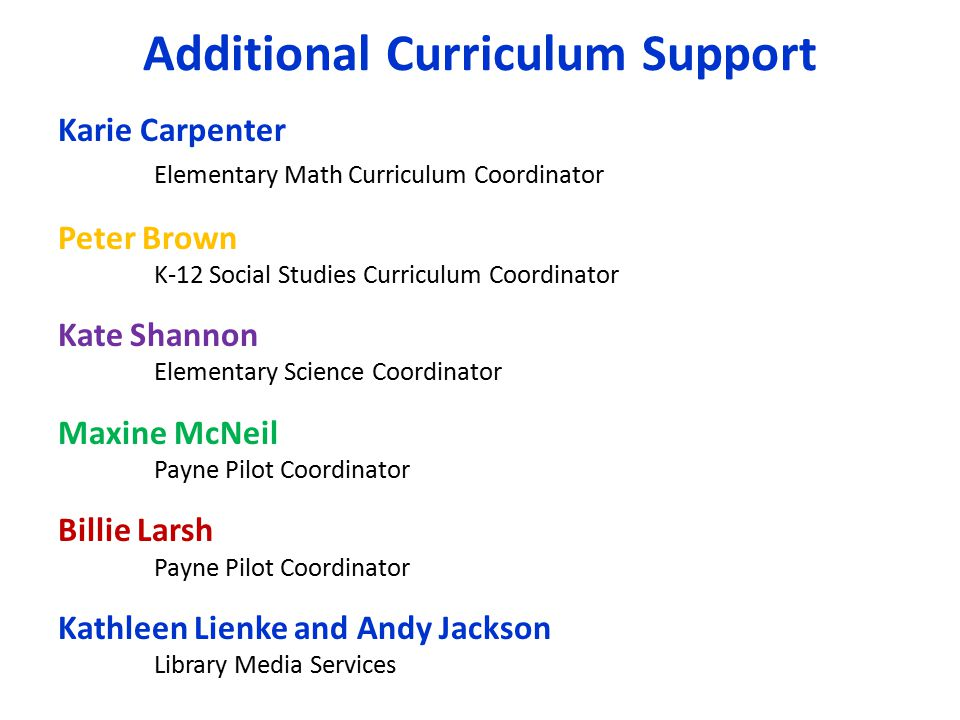 Additional Curriculum Support