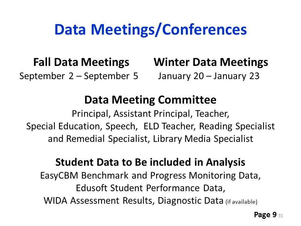 Data Meetings/Conferences