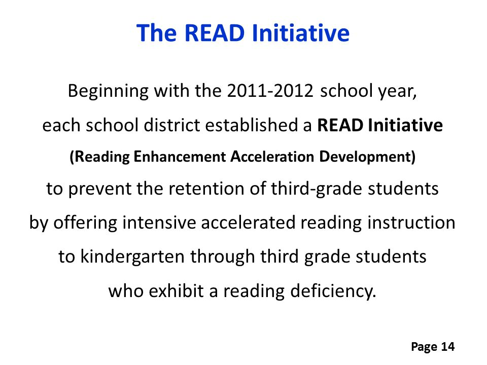 The READ Initiative
