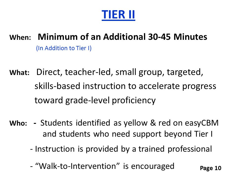 TIER II skills-based instruction to accelerate progress