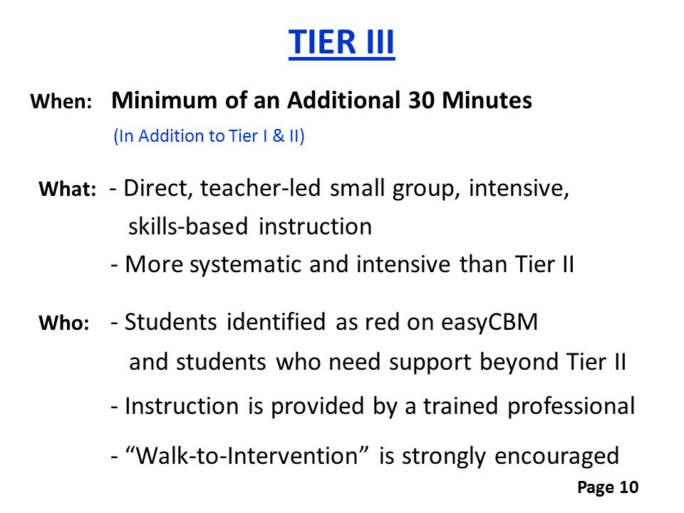 TIER III (In Addition to Tier I & II) skills-based instruction