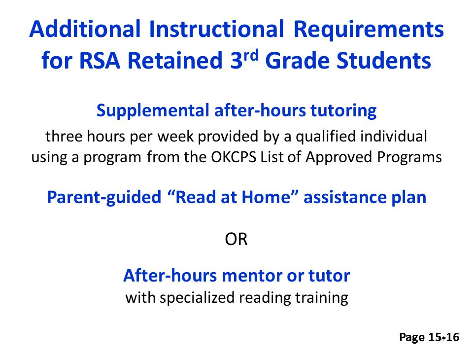 Additional Instructional Requirements for RSA Retained 3rd Grade Students