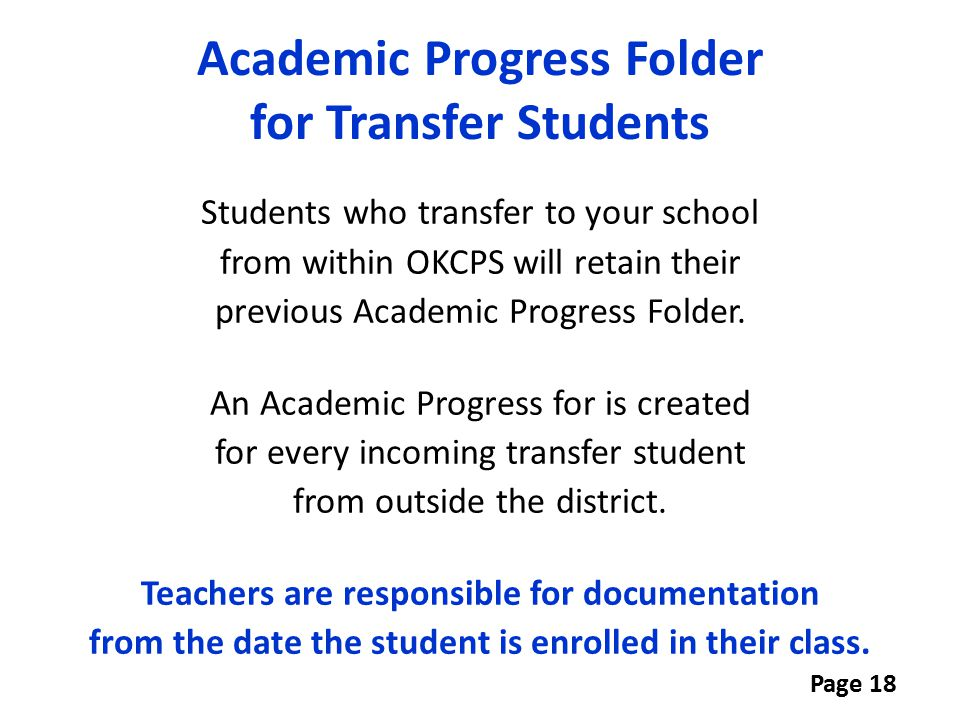 Academic Progress Folder for Transfer Students