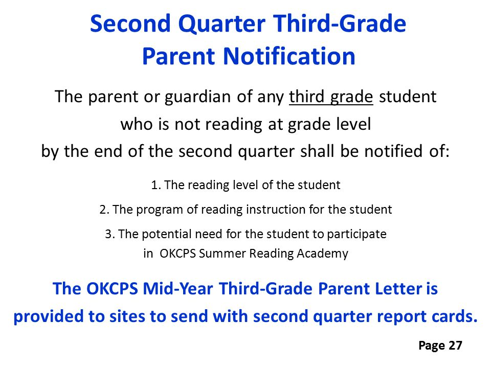 Second Quarter Third-Grade Parent Notification