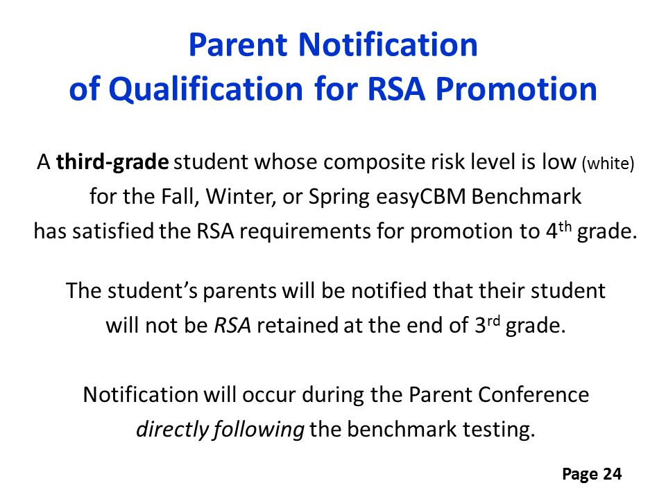 Parent Notification of Qualification for RSA Promotion