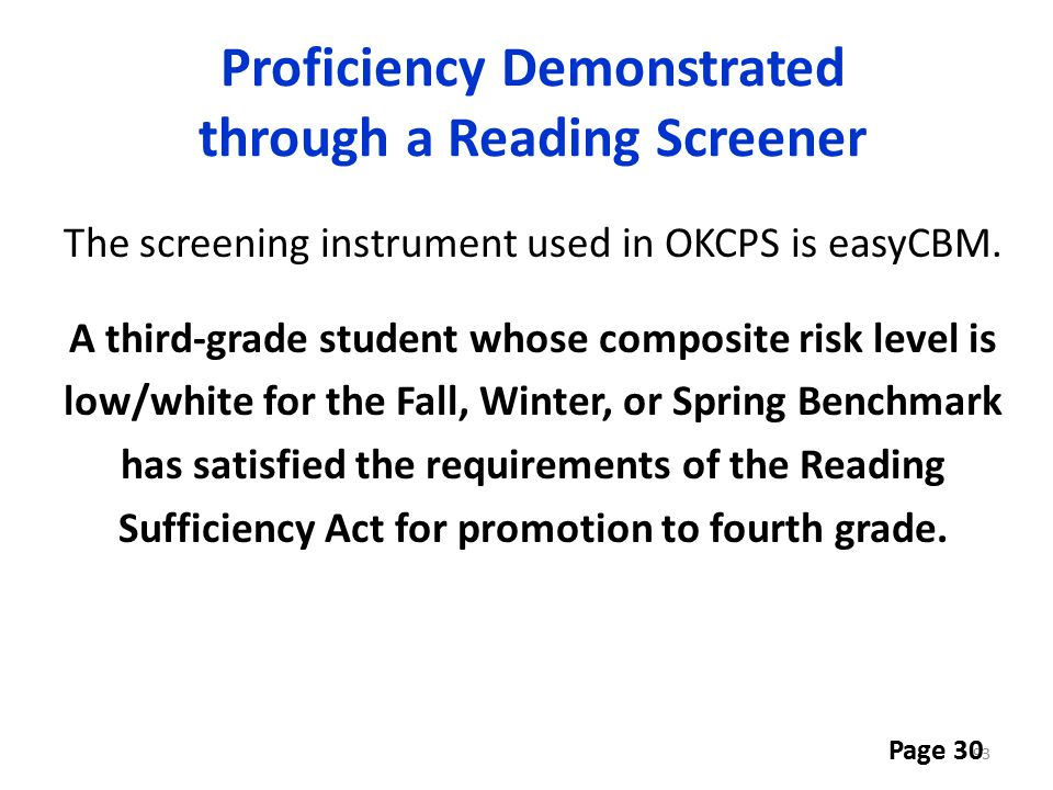Proficiency Demonstrated through a Reading Screener