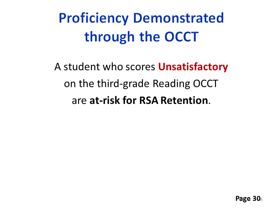 Proficiency Demonstrated through the OCCT