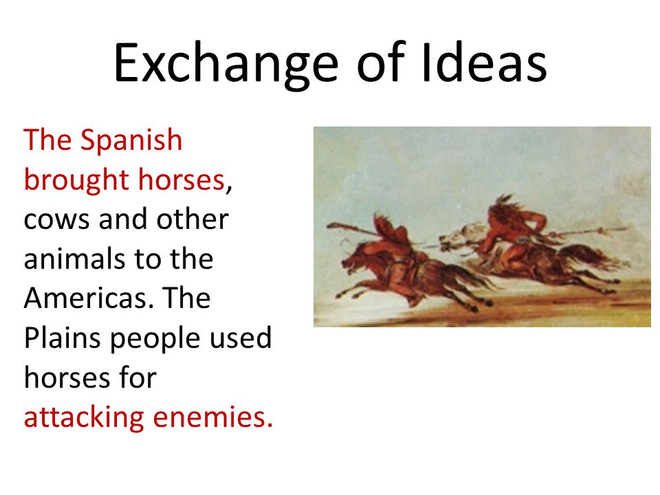 Exchange of Ideas The Spanish brought horses, cows and other animals to the Americas.