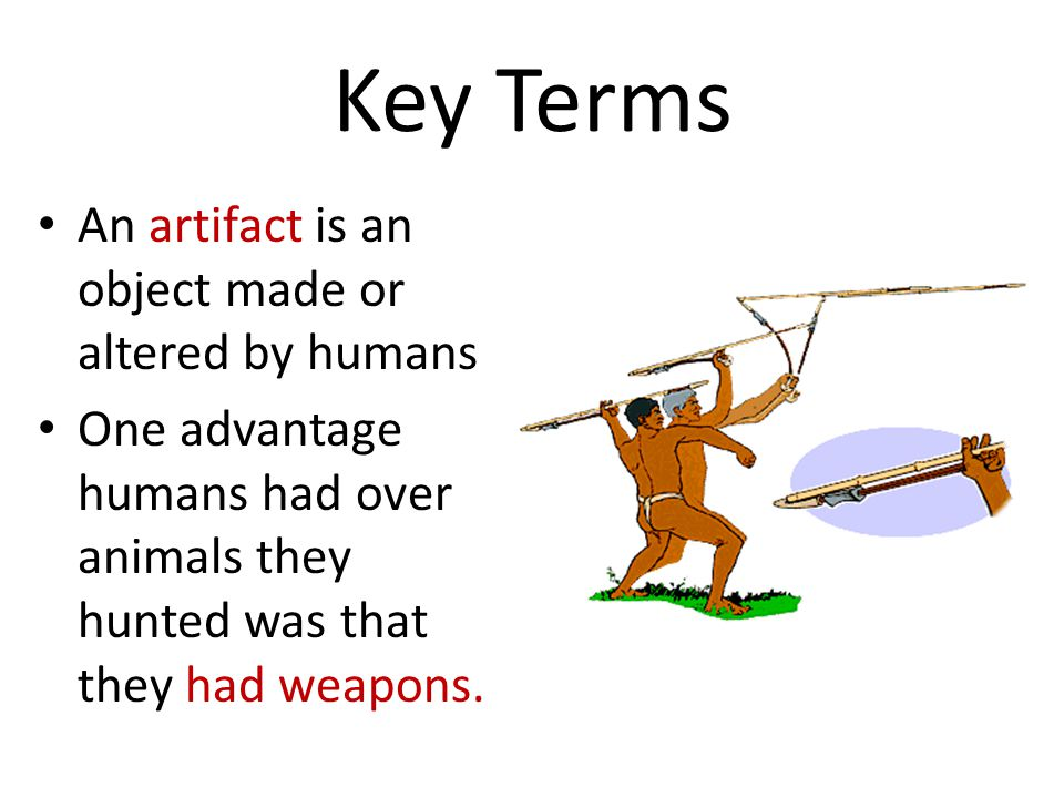 Key Terms An artifact is an object made or altered by humans
