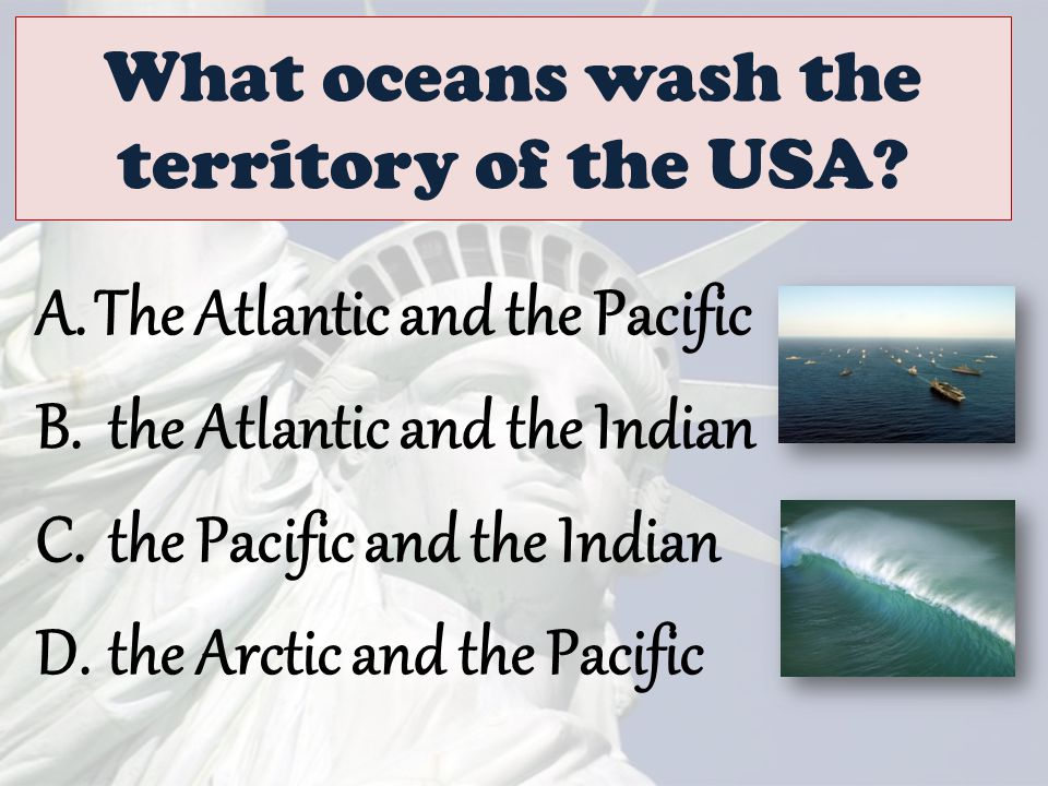 What oceans wash the territory of the USA