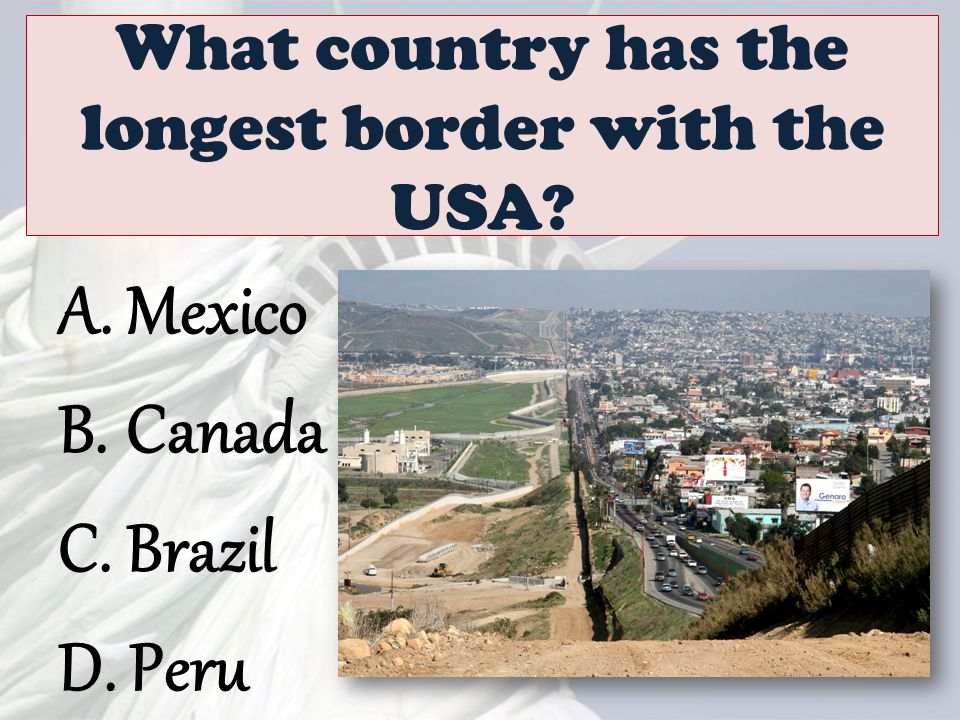What country has the longest border with the USA