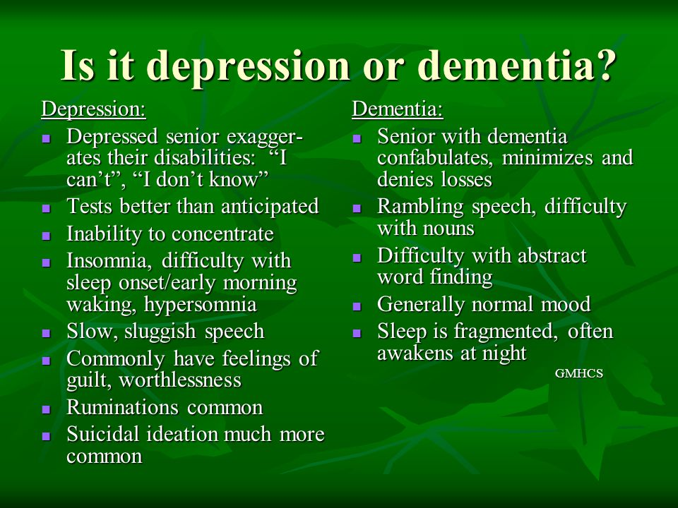 Is it depression or dementia