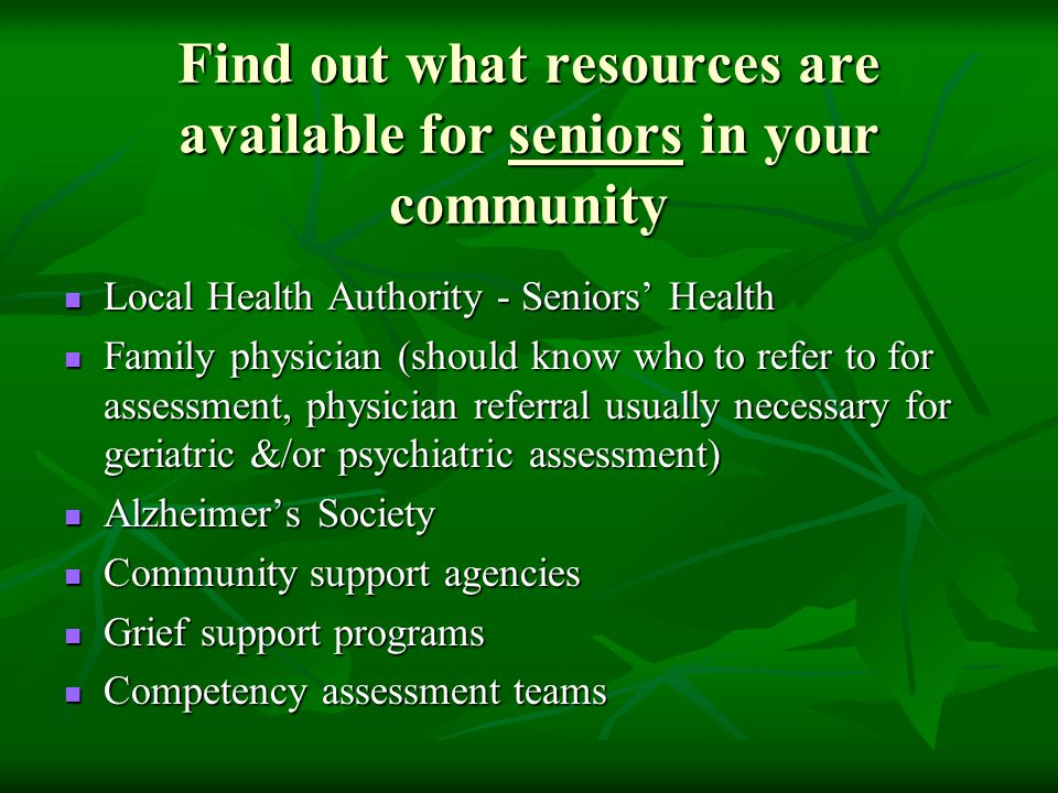 Find out what resources are available for seniors in your community