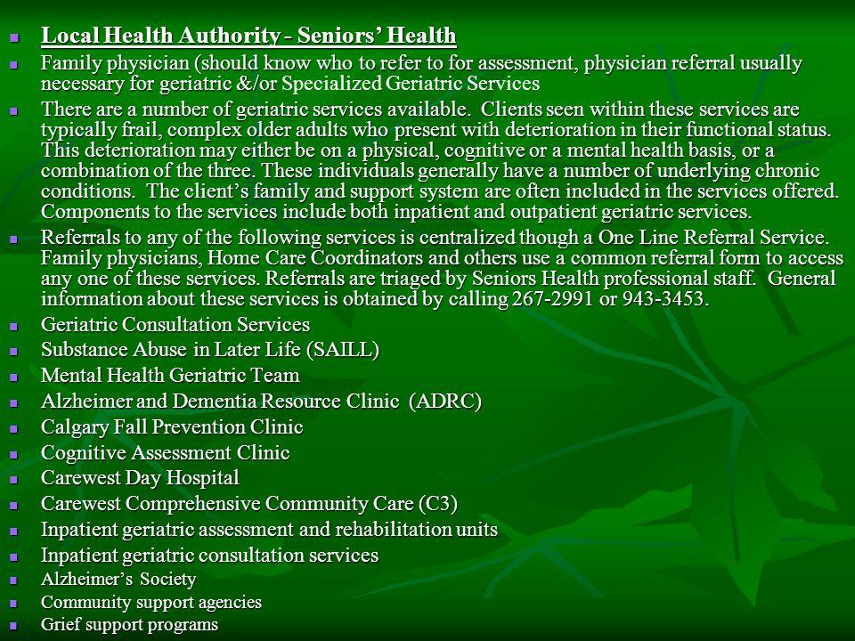 Local Health Authority - Seniors' Health