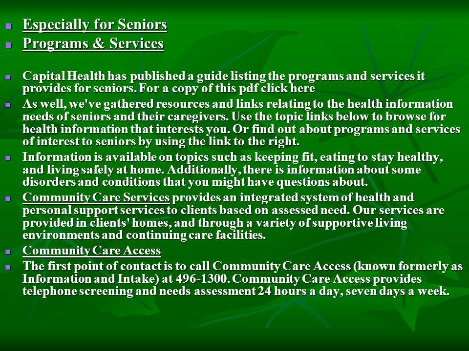 Especially for Seniors Programs & Services