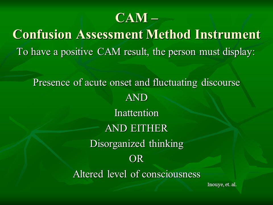 CAM – Confusion Assessment Method Instrument