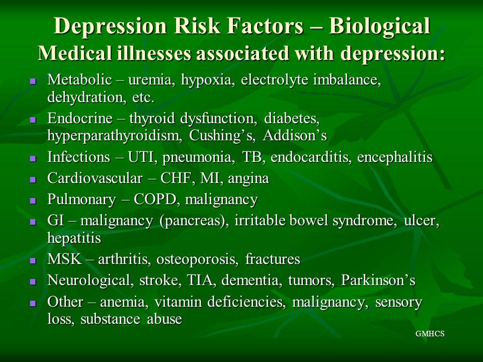 Depression Risk Factors – Biological Medical illnesses associated with depression: