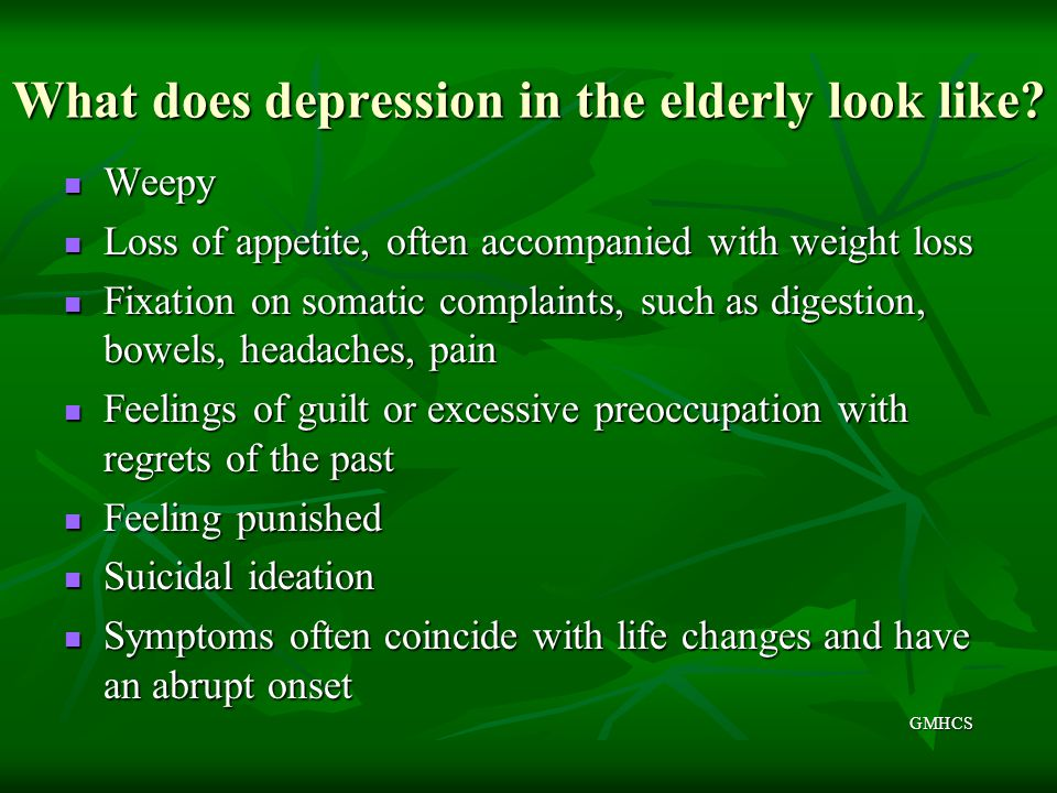 What does depression in the elderly look like
