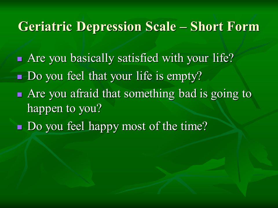 Geriatric Depression Scale – Short Form