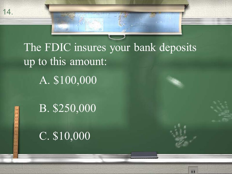The FDIC insures your bank deposits up to this amount: