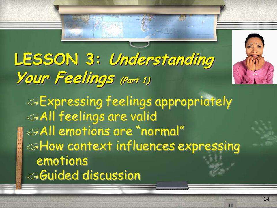 LESSON 3: Understanding Your Feelings (Part 1)
