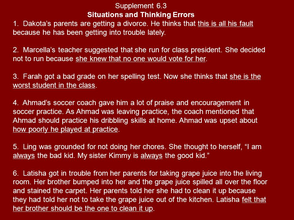 Situations and Thinking Errors