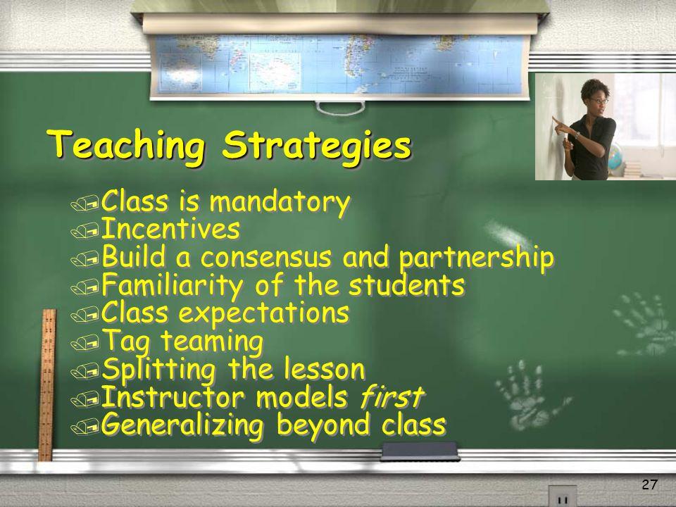 Teaching Strategies Class is mandatory Incentives
