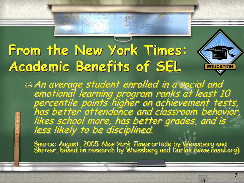 From the New York Times: Academic Benefits of SEL