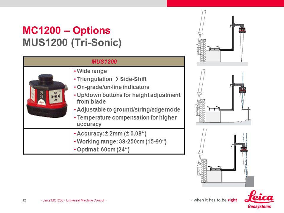 MC1200 – Options MUS1200 (Tri-Sonic)