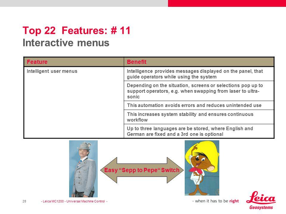 Top 22 Features: # 11 Interactive menus