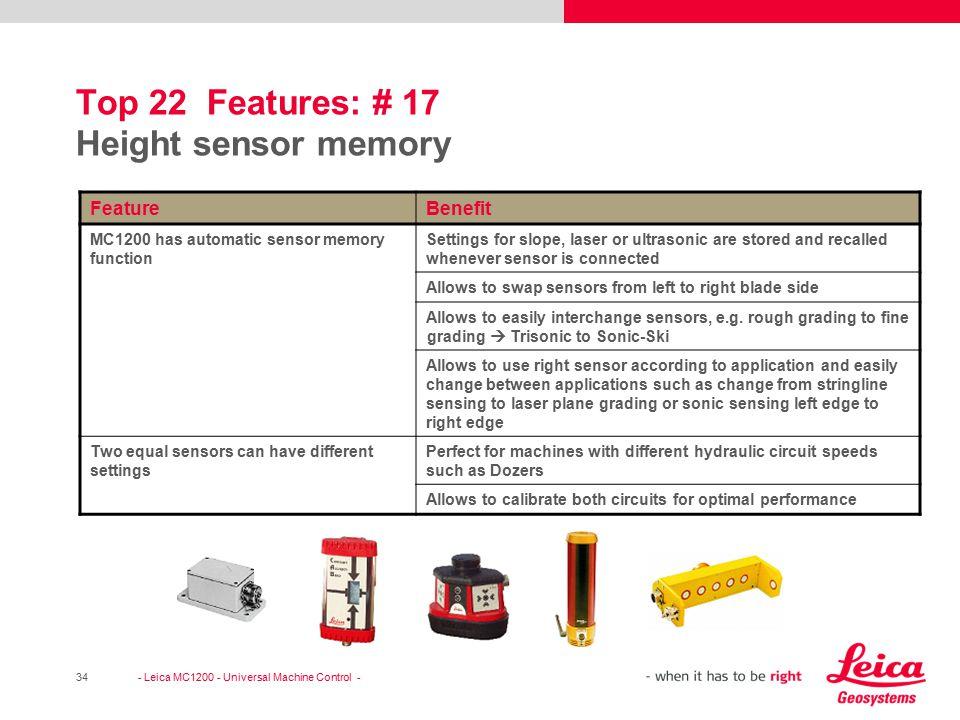 Top 22 Features: # 17 Height sensor memory