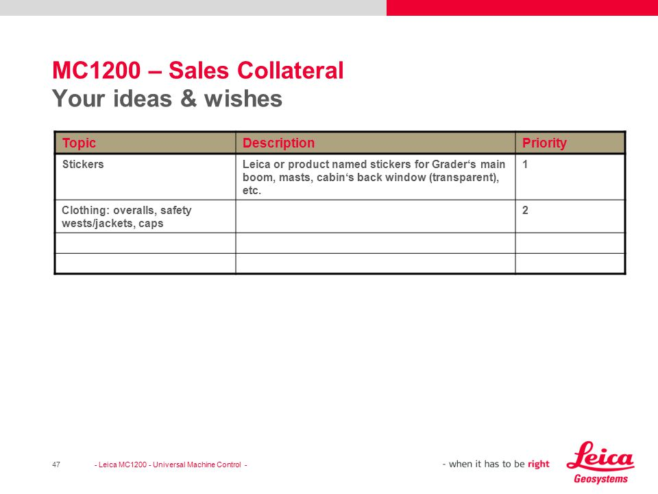 MC1200 – Sales Collateral Your ideas & wishes