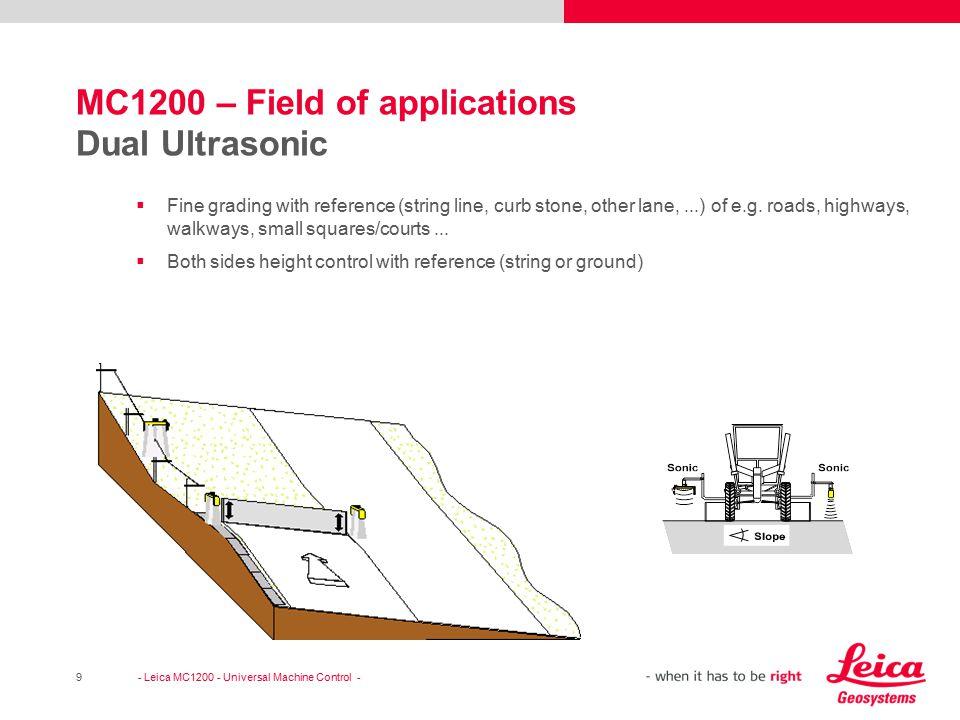 MC1200 – Field of applications Dual Ultrasonic