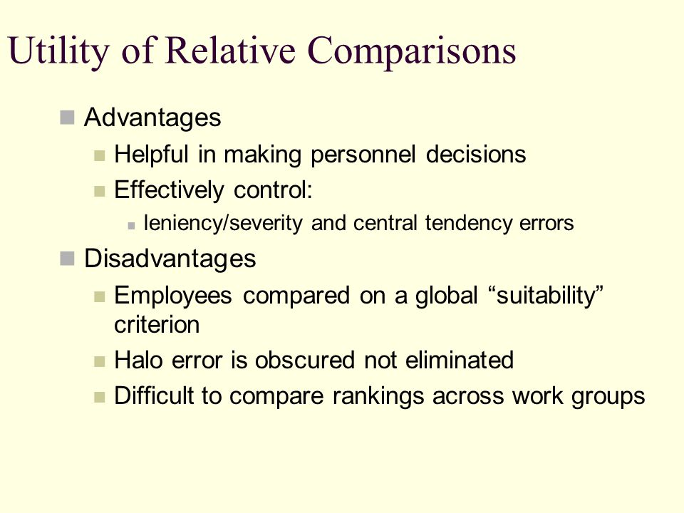 Utility of Relative Comparisons