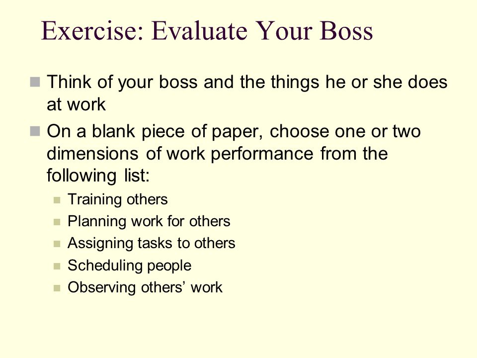 Exercise: Evaluate Your Boss