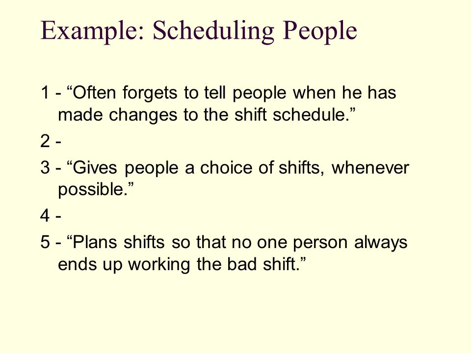 Example: Scheduling People