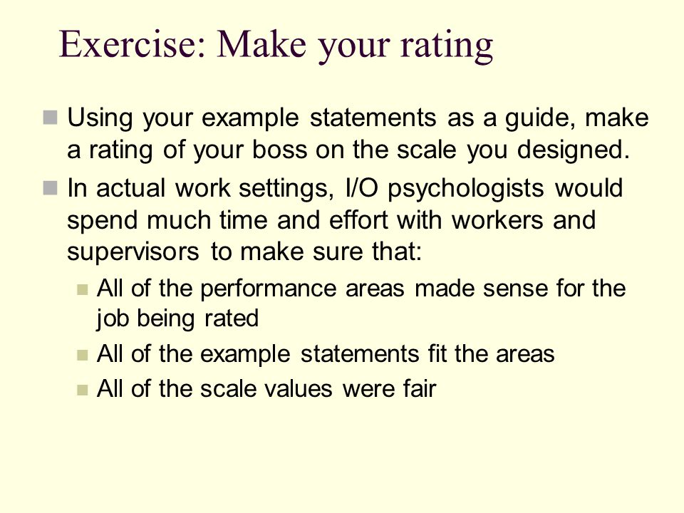 Exercise: Make your rating