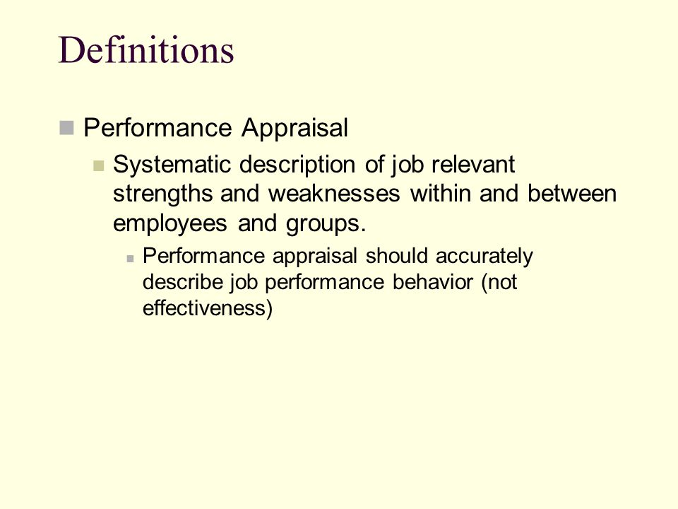Definitions Performance Appraisal