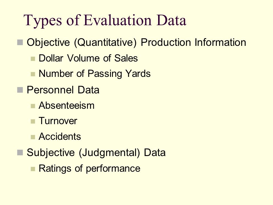 Types of Evaluation Data